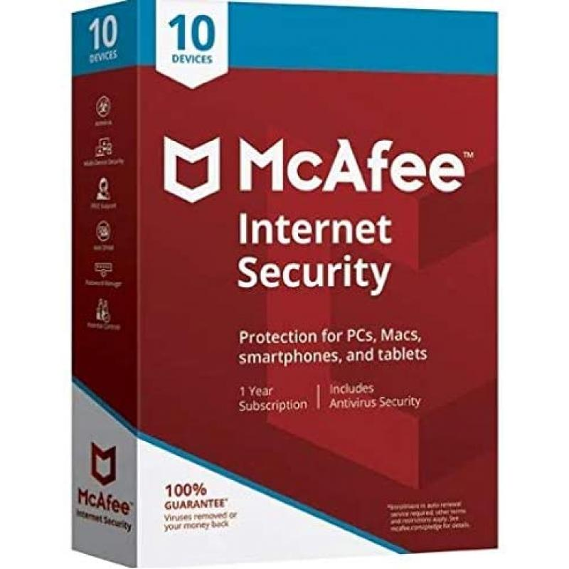 Mcafee Internet Security - Unlimited Users (10 Devices)   1 Year